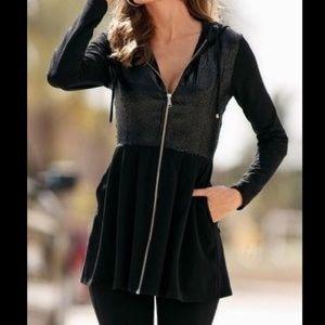 Boston Proper | Black Sequin Hooded Zip Jacket